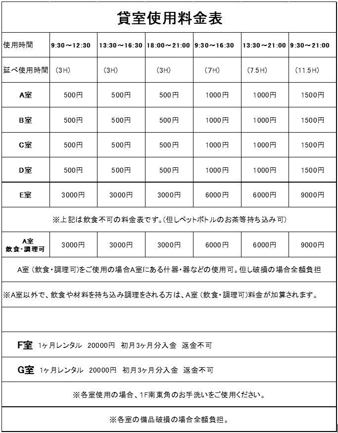 レンタル価格表